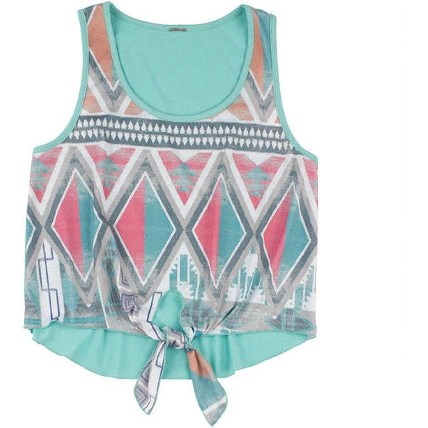 Aztec Tie Front Tank (€16) ❤ liked on Polyvore featuring tops, shirts, tank tops, crop tops, view all tops, tie front tank top, aztec tank, tie front tank, aztec crop top and shirt top