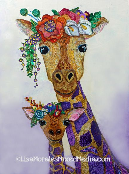 Giraffe Glamour Girls - Mixed Media Collage by Lisa Morales