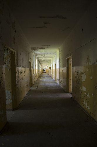 Half kilometres halls in abandoned soviet hospital, Poland