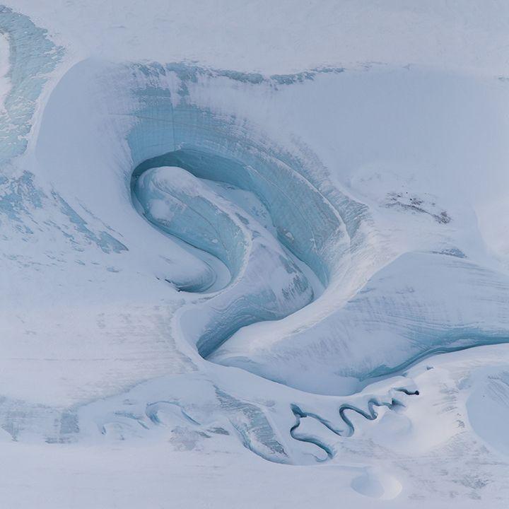 Melt channels on DeVries Glacier, Ellesmere Island