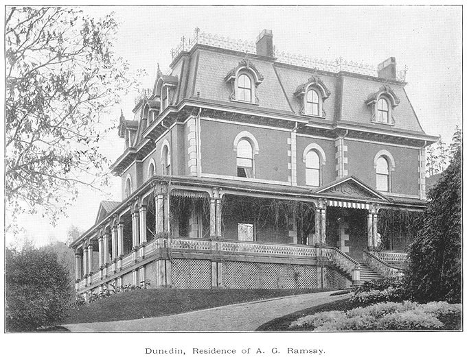 """1893 - """"Dunedin"""" - residence of A. G. Ramsay - Location unknown - A.G. Ramsay was a manager  at the Canada Life Asurance Company of Hamilton."""