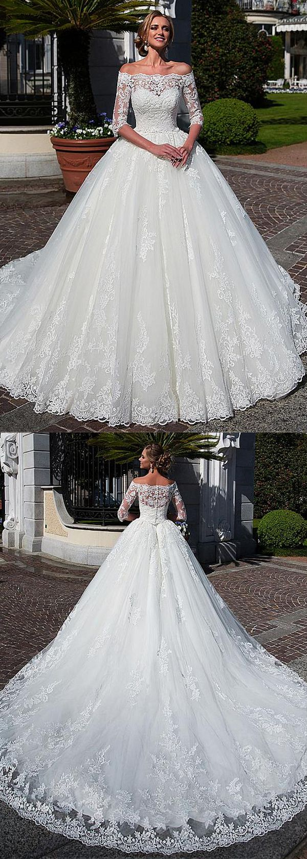 [253.20] Enticing Tulle Off-the-shoulder Neckline Ball Robe Marriage ceremony Gown With Lace Appliques & Beadings & Removable Jacket