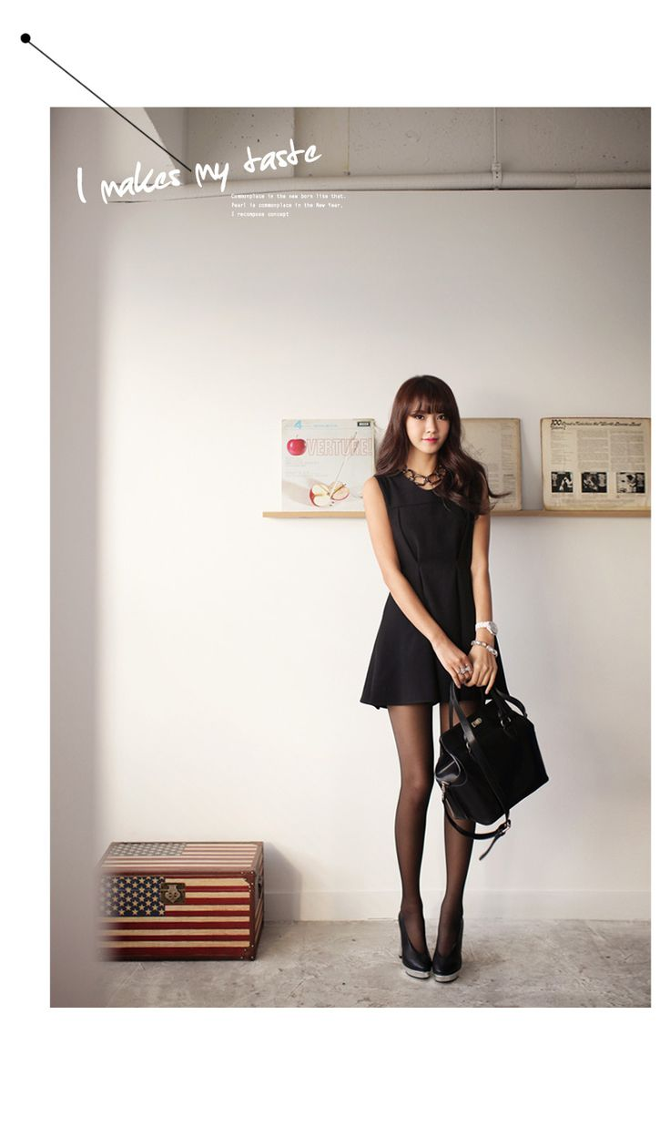 korean stockings one piece black dress+stocking black+ black heels#chic#sexy # korean style