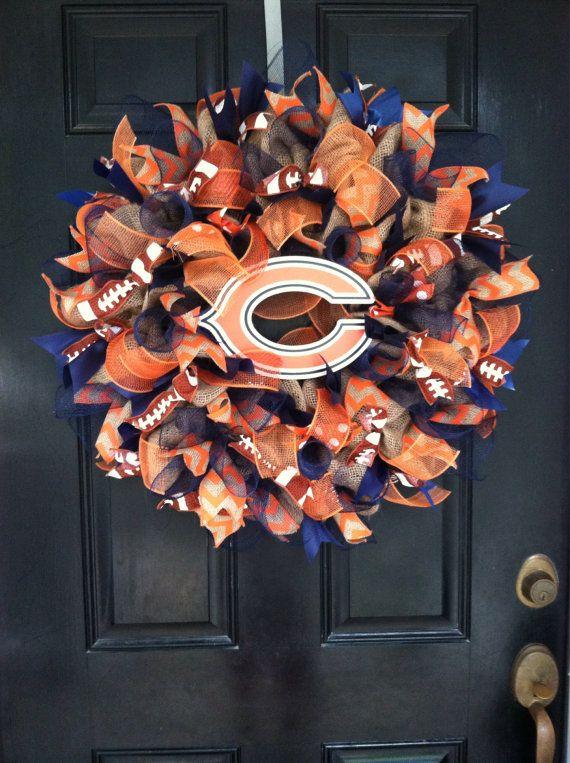 Large Elegant Burlap Chicago Bears NFL Pro by DesignTwentyNineSC