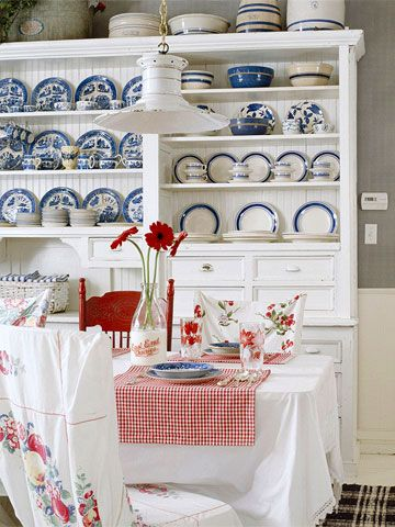 This is a lot like my kitchen - red gingham, blue transferware... love this!!