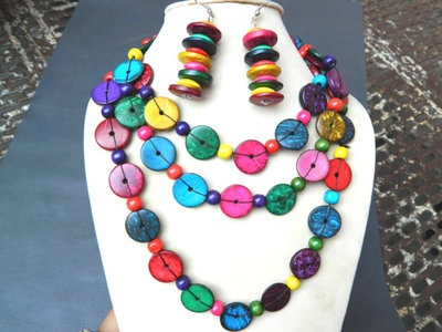 Wood Beads-Wood beads Necklace-Multicoloured Painted wood beads-Handmade.