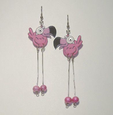Googly-Eyed-Silly-Flamingo-Earrings-WACKY-WHIMSICAL-FUN