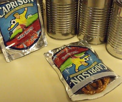 reusable snack bag made from a Caprisun container
