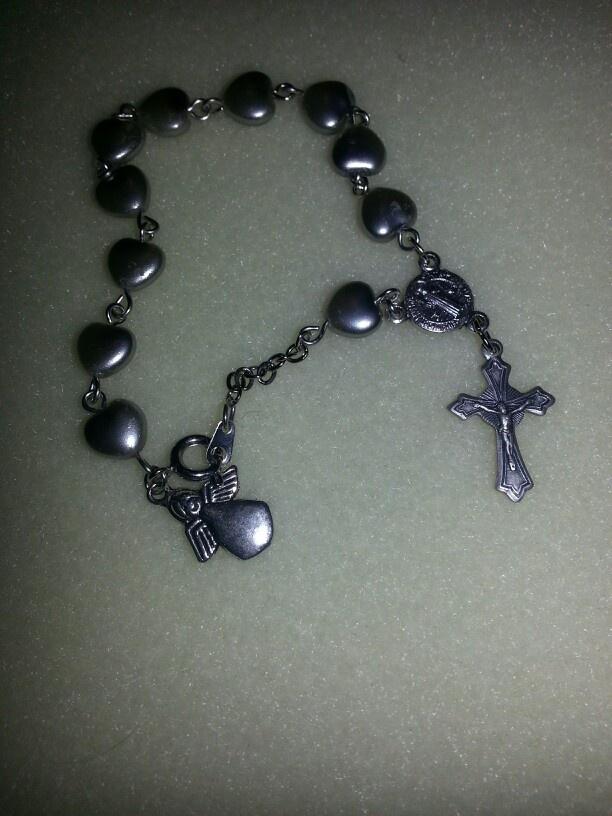 silver heart Rosary bracelet