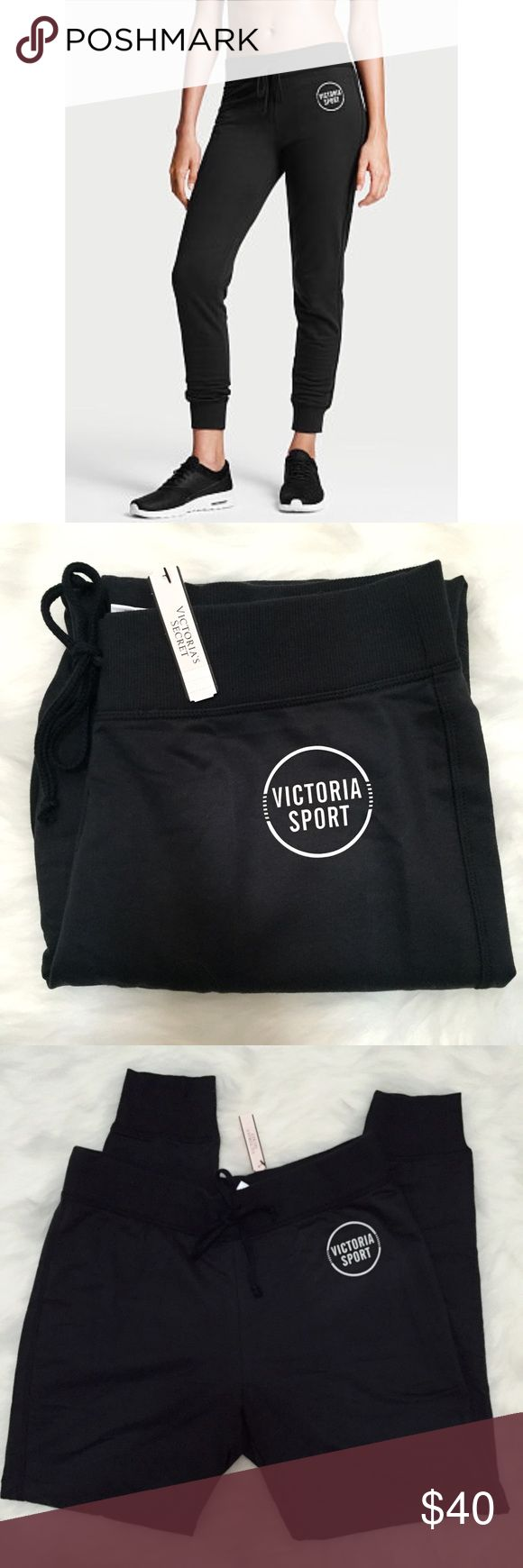 Victoria's Secret Sport Black Fleece Jogger Pants Brand new with tags, women's size Small. These Victoria's Secret Sport Black Fleece Drawstring Joggers are perfect for the gym, running errands or lounging around! So comfortable and soft! Has the Victoria Sport logo on the front. Victoria's Secret Pants Track Pants & Joggers