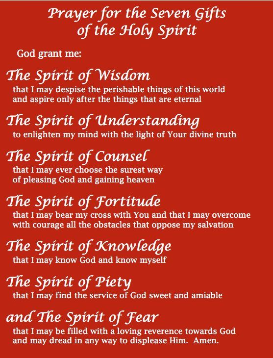 seven gifts of the holy spirit Spiritual gift the term charism denotes any good gift that such as the seven gifts of the holy spirit and the fruit of the holy spirit.
