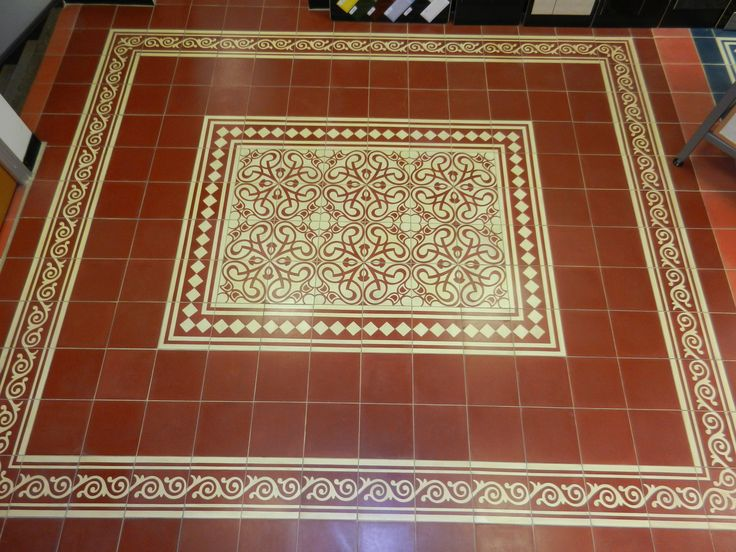 Handmade Encaustic Tiles. Red And Cream Floor. 9018 DR BW Border / 1002 ·  Enkaustische FlieseFliesen