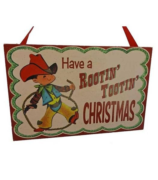 Cowboy Christmas Sign Ornament Vintage Style Rootin Tootin - North Pole West Cowboy Christmas