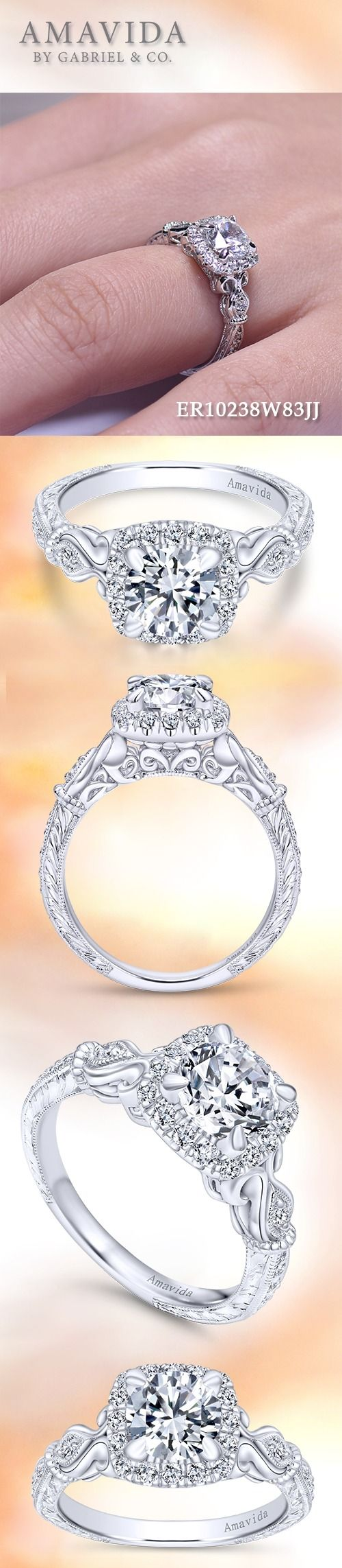 AMAVIDA by Gabriel & Co.-Voted #1 Most Preferred Fine Jewelry and Bridal Brand. 18k White Gold Round Halo  Engagement Ring.