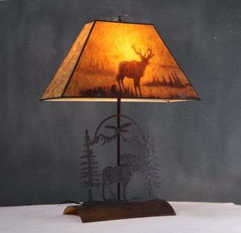 1 light moose design table lamp, brown frame with moose print shade