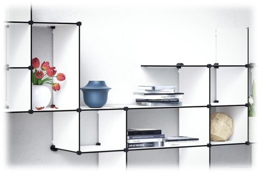 """Up The Wall"" is our new flexible shelving system that invites the customer to co-create. #shelving #shelves #upthewall #reol #hylder"