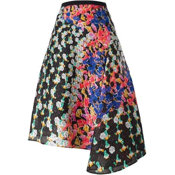 Peter Pilotto Digital Floral Print Asymmetric Skirt ($838) ❤ liked on Polyvore featuring skirts, saias, black, multicolor skirt, floral printed skirt, colorful skirts, peter pilotto skirt and asymmetric hem skirt