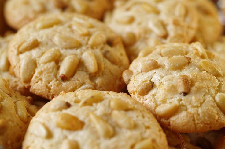 Course(s): Dessert; Ingredients: almond paste, egg white, pine nuts, powdered sugar, sugar