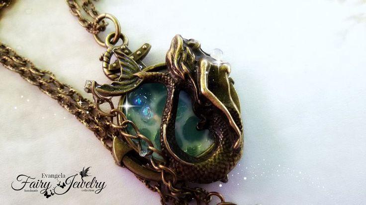Collana mare sirena ancora bronzo anticato effetto acqua , by Evangela Fairy Jewelry, 15,00 € su misshobby.com
