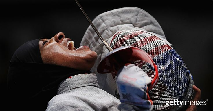 Fencer Ibtihaj Muhammad of the United States reacts during the Women's Sabre Team Semifinal against Russia during the 2016 Olympic Games.  #2016InFocus