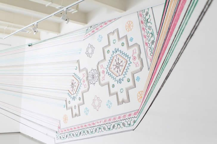 "Illusion: Artist Faig Ahmed has created a meticulous thread installation that was inspired by traditional Azerbaijani rugs. See also: ""The Rainbow Effect"" and ""No Ink, Just Stitching."" Photos © Faig Ahmed Link via Designboom. http://illusion.scene360.com/art/33196/unique-carpet-on-wall/"