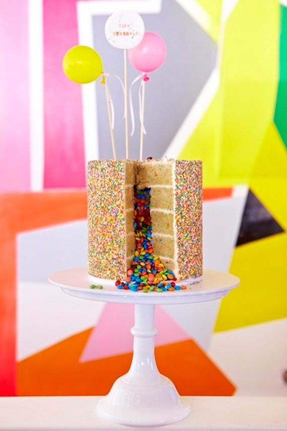 Smarties Filled Sprinkled Cake