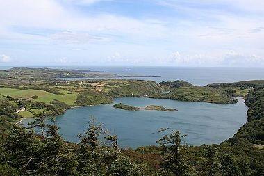 Lough Hyne(Irish:Loch Oighinn) is amarinelakeinWest Cork,Ireland, about 5km southwest ofSkibbereen. It was designated as Ireland's firstMarine Nature Reservein 1981.[1]  Lough Hyne was probably afreshwaterlake until about fourmillenniaago, when risingsea levelsflooded it withsalineocean water.