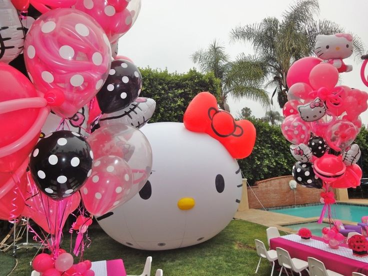 Hello Kitty birthday party balloon decorations