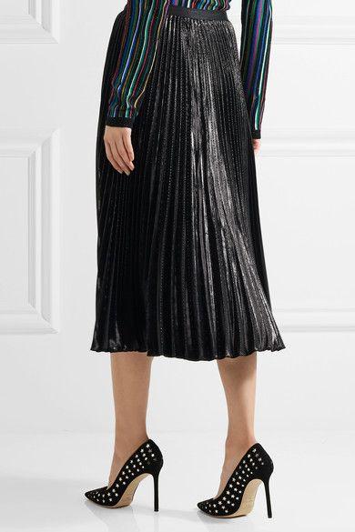Diane von Furstenberg - Heavyn Pleated Metallic Crepe Skirt - Black - US10