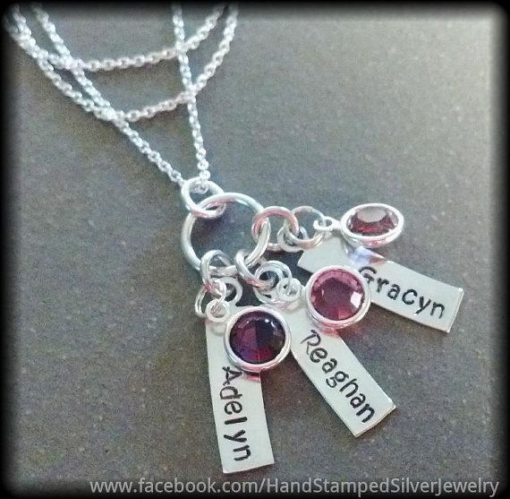 Mothers Grandmothers 3 Hand Stamped Silver Name von StampTheStory
