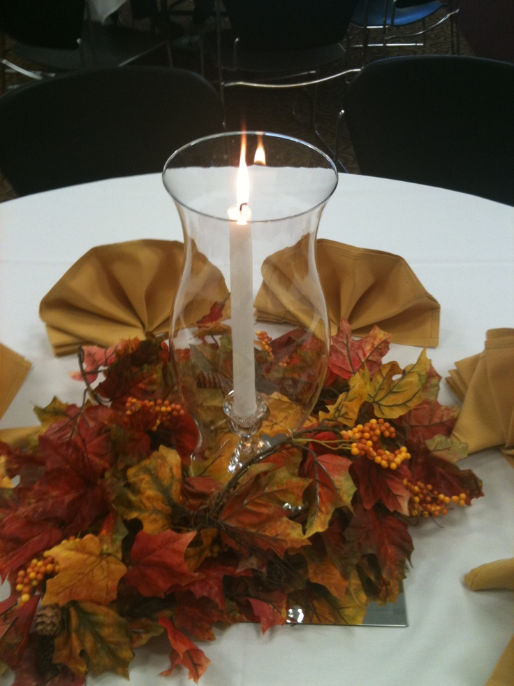 Easy fall table centerpiece with a mirror tile hurricane