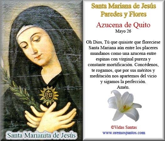 Estampita Santa Mariana de Jesús, © Cecill Torres Villar - www.marianadejesus.com