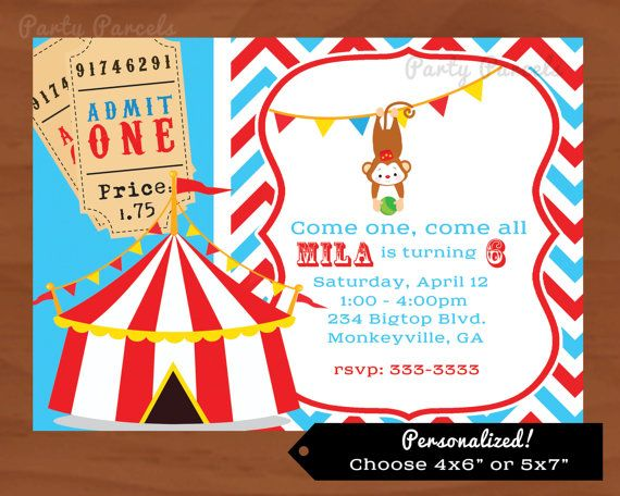Personalized Bithday Invitation - Circus style - Unisex - 4x6 or 5x7