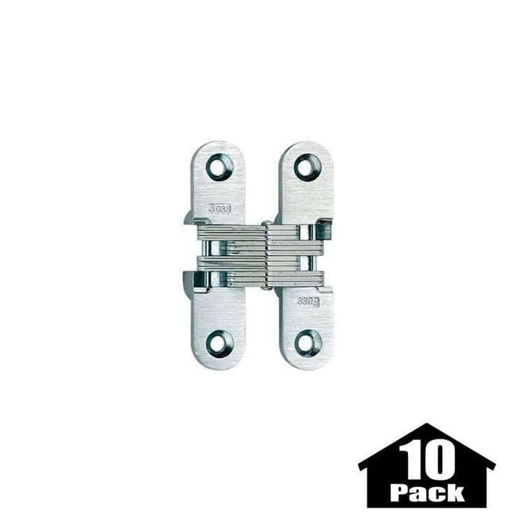"Soss 208-10PACK 2-3/4"" High Invisible Hinge for Medium Duty - 10 Pack Satin Brass Cabinet Hinges Inset Hinges Invisible Hinges"