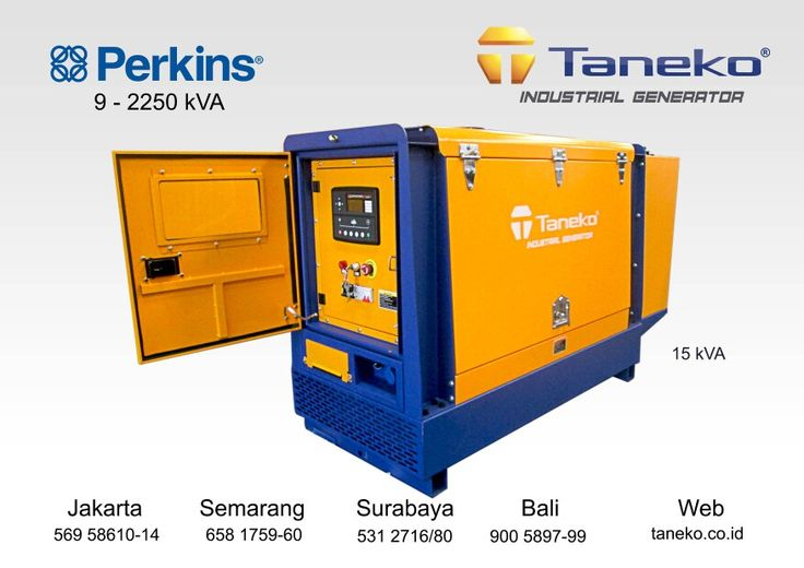 At frame : Genset Perkins 15 kVA Silent Type. Suitable back up power for residential area, small office, medium grocery store, minimarket etc. Perkins 403A-15G2 coupled with Stamford P.I 044 G1 , 15 kVA Prime Power. Quality Generator Product from Taneko For Your Industrial Needs, CALL US NOW