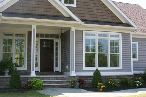 this is the exterior style I love. Love these colors too. Stone with vinyl siding and wood siding.