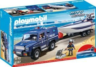 PLAYMOBIL® Police Truck with Speedboat, No. 5187 `One size The star floats, Theme: City Action Details : 1 fire engine, 1 speedboat, 1 pair of binoculars, 1 Camera, 1 cord(s), 1 Pistol Age : Age 4 and upwards http://www.comparestoreprices.co.uk/january-2017-7/playmobil®-police-truck-with-speedboat-no-5187-one-size.asp