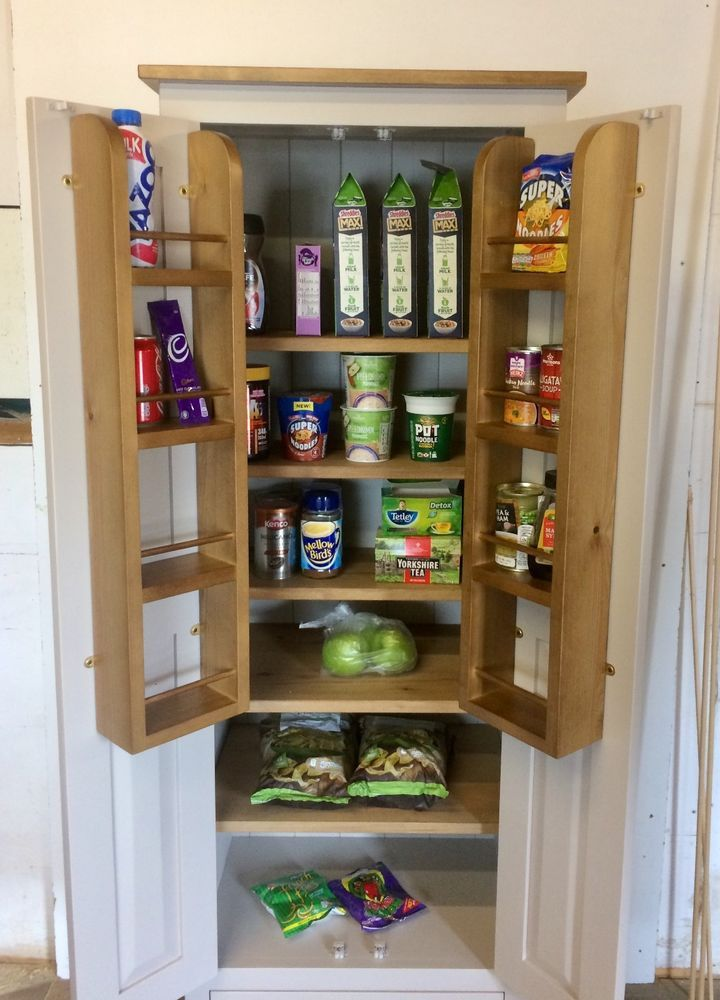 Handmade In The Uk Kitchen Pantry Storage Cupboard Full Shelving And Optional Larder Spice Racks This Vers Cupboard Storage Kitchen Pantry Storage Cupboard