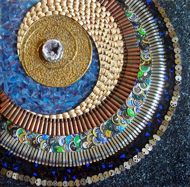 Shattered by Kathy Thaden - geode, tempered glass, stained glass, corks, shell casings, framing hardware, bottlecaps, keys.Bottle Caps, Bottlecap Art, Frames Hardware, Corks, Mosaics Artists, Kathy Thaden,  Spirals, Artists Mosaics, Stained Glasses