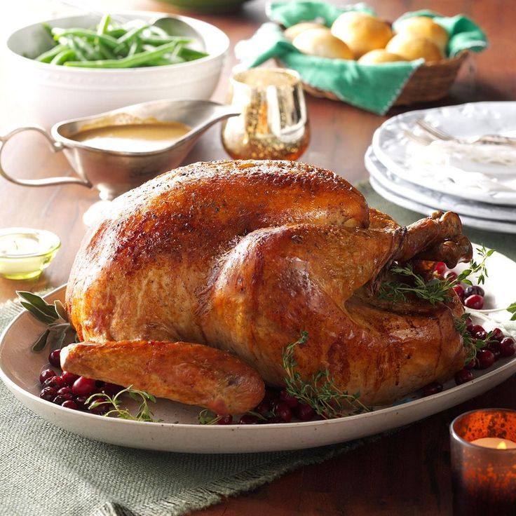 Roasted Sage Turkey with Vegetable Gravy Recipe -There's no place like home-style when roasting the big bird. Instead of sage stuffing with turkey, stuff this bird with fresh sage and sprigs of thyme. — Beth Jacobson, Taste of Home Magazine, Milwaukee, Wisconsin