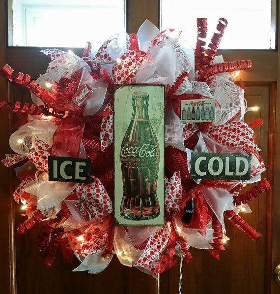 this is a coca cola themed deco mesh loop style wreath this custom wreath will be approximately. Black Bedroom Furniture Sets. Home Design Ideas