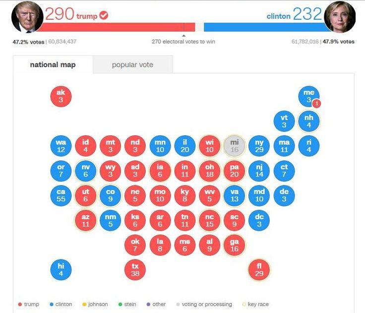 Electoral College Votes Map 2016