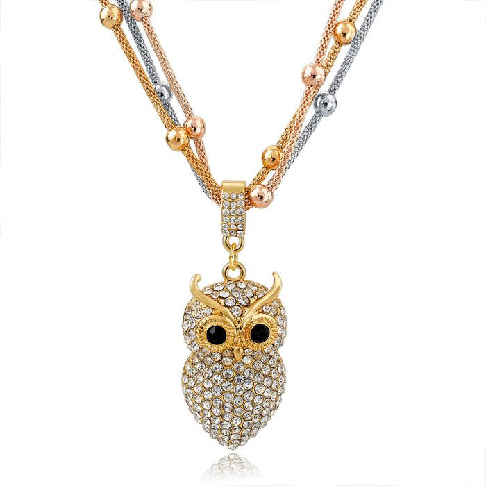 Gold Crystal Owl Pendant Long Necklace