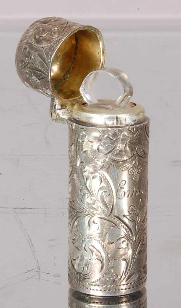 """Sterling Silver Perfume Bottle, With glass insert & stopper 2"""" t. Marked H & T - Ca. 1900"""
