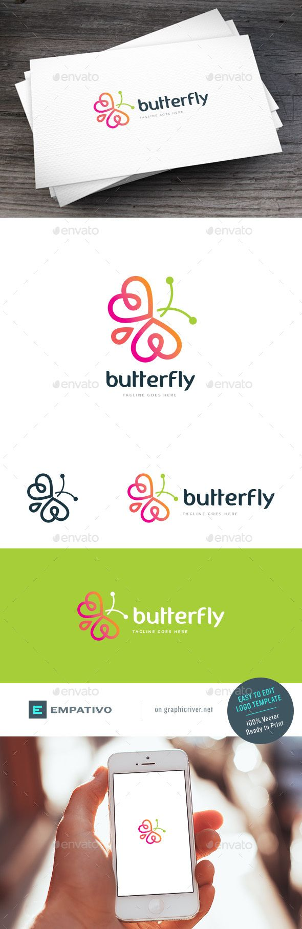 Logotype butterfly and letter b in different colour variants on a - Butterfly Logo Template