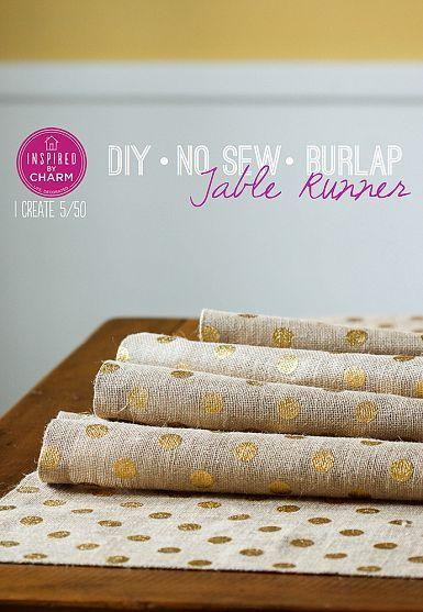 No sew gold dot burlap table runner!