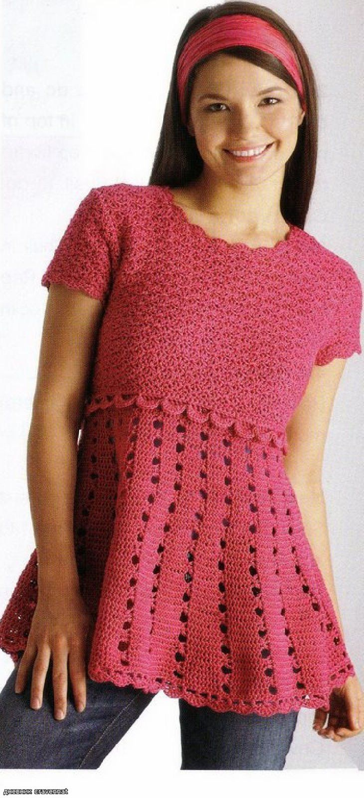 Free Crochet Patterns In English : Dark Pink Tunic - FREE crochet pattern - Russian site but ...