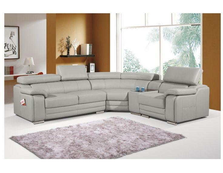 Dakota Taupe Light Grey Leather Corner Sofa Right Hand