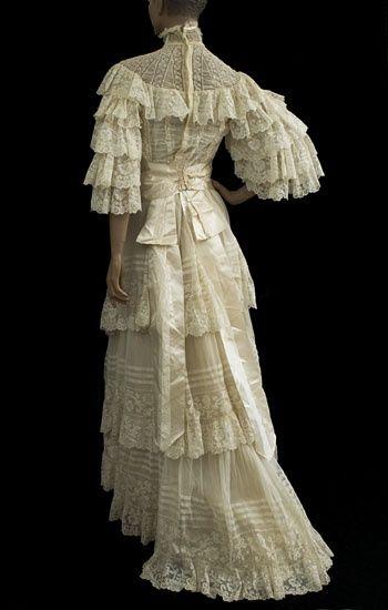 1890s Valenciennes lace wedding dress from the Vintage Textile archives. Found on vintagetextile.com