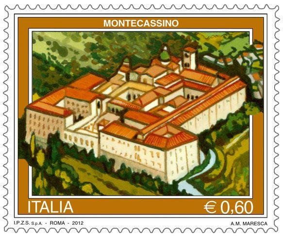 """Francobollo appartenente alla serie tematica """"Il turismo"""" dedicato a Montecassino (FR)"""